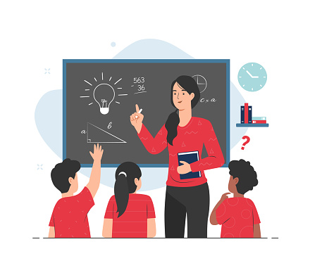 Teacher giving lesson to her students in classroom. Teaching concept illustration