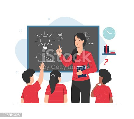 istock Teacher giving lesson to her students in classroom. Teaching concept illustration 1272543982
