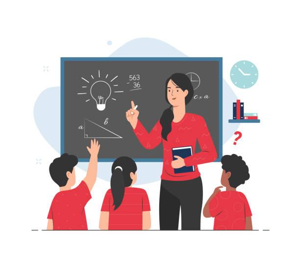 ilustrações, clipart, desenhos animados e ícones de professora dando aula para seus alunos em sala de aula. ilustração de conceito de ensino - professor