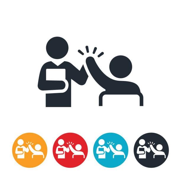 lehrer geben studenten high-five icon - danke stock-grafiken, -clipart, -cartoons und -symbole