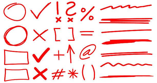 teacher hand drawn corrections set in red with font elements - graffiti schriftarten stock-grafiken, -clipart, -cartoons und -symbole