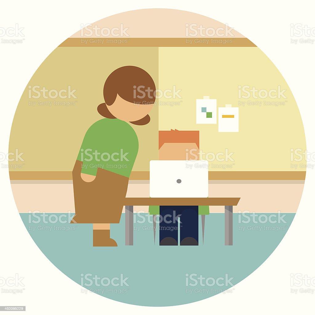 Teacher Helping Student on Laptop vector art illustration