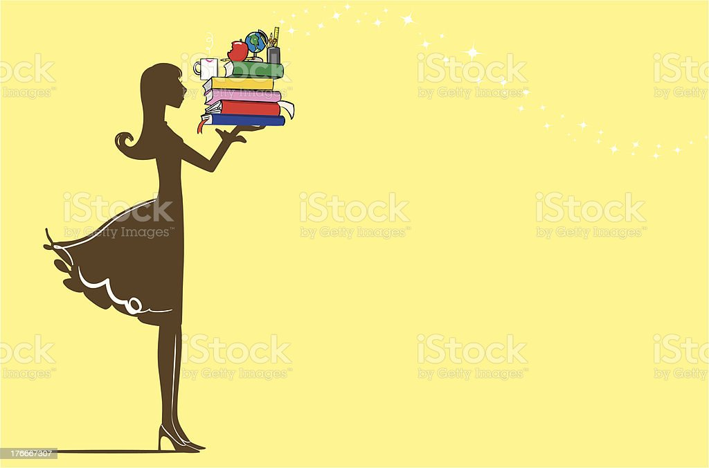 Teacher holding books vector art illustration
