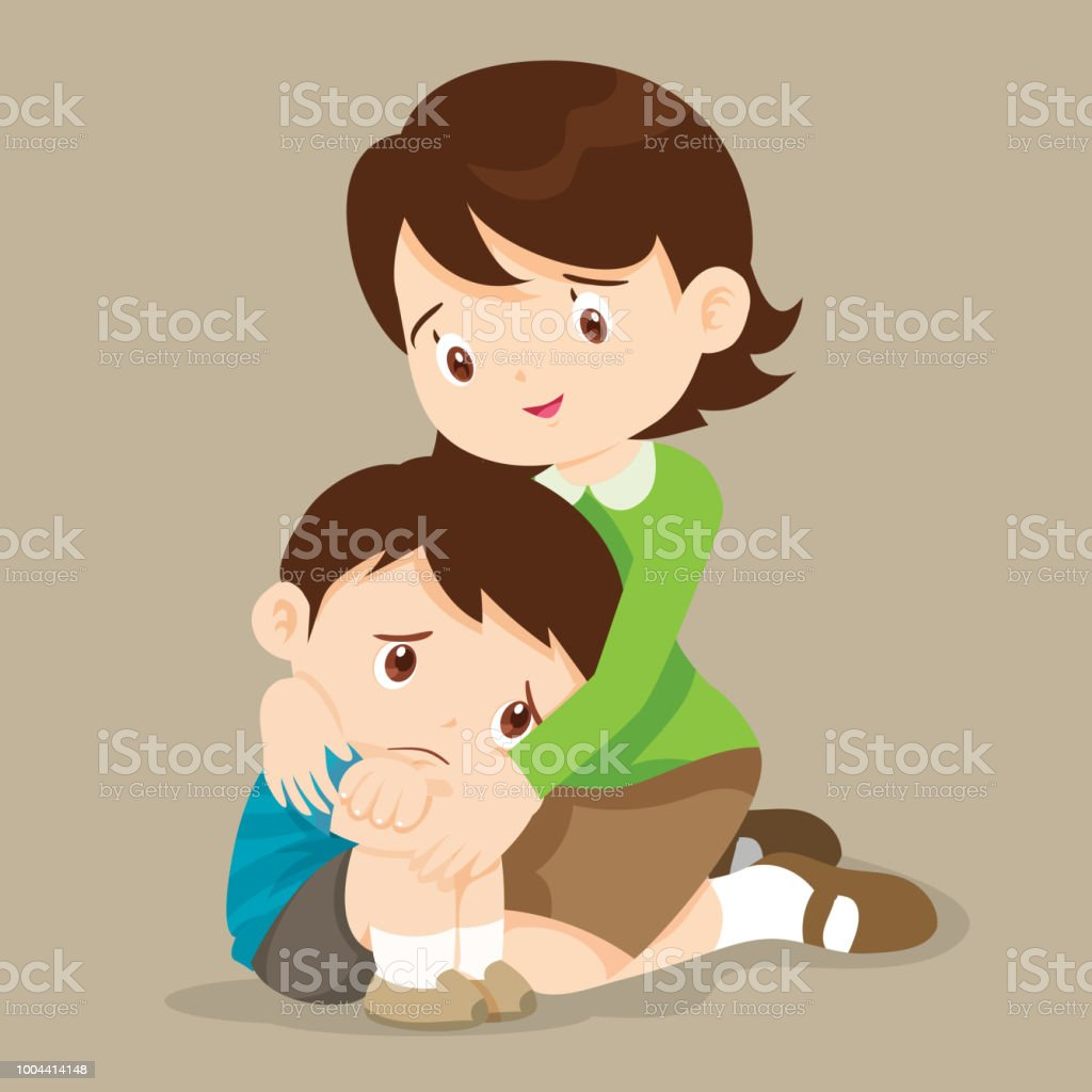 teacher hugs comfort sad boy grievingl stock vector art & more