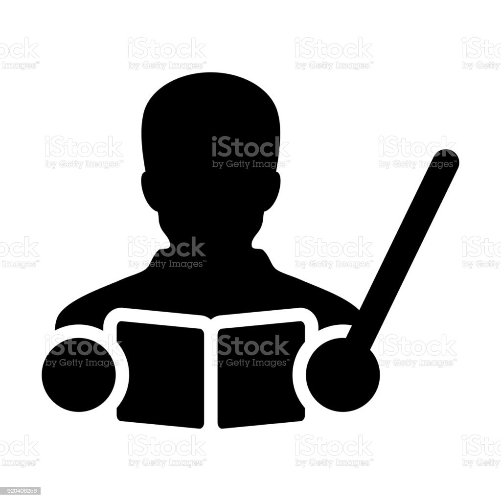 Teacher Icon Vector Male Person Profile Avatar With A Book And Teaching In School College Or University For Education In Glyph Pictogram Symbol Stock Illustration Download Image Now Istock