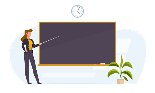 Teacher in classroom near chalkboard conduct lesson. Cartoon flat women with pointer teaching, young professor at university or college giving lecture vector concept