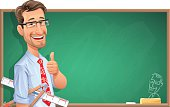 A smiling teacher with glasses in front of a blackboard holding a ruler and a compass and gesturing thumbs up. Illustration with space for text. EPS 10, grouped and labeled in layers.