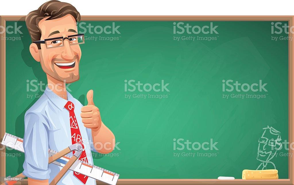 Enseignant en face de tableau - Illustration vectorielle