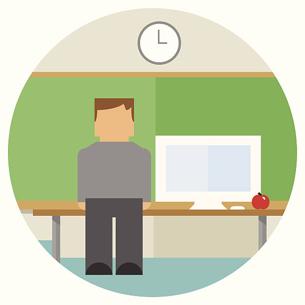 Teacher in Front of Classroom with Computer vector art illustration