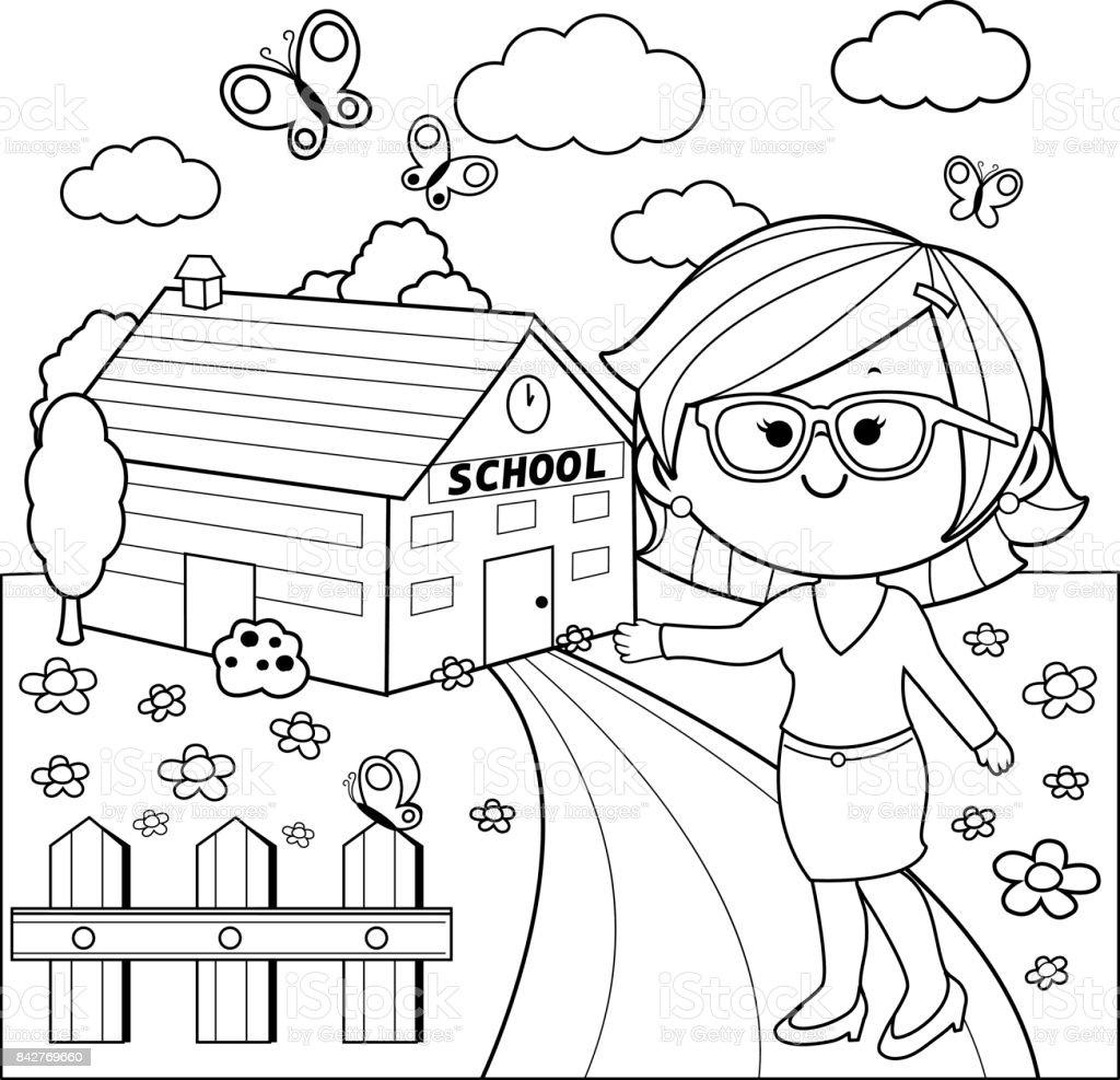 Ogretmen Okul Binasi Onunde Siyah Ve Beyaz Kitap Sayfa Boyama Stok