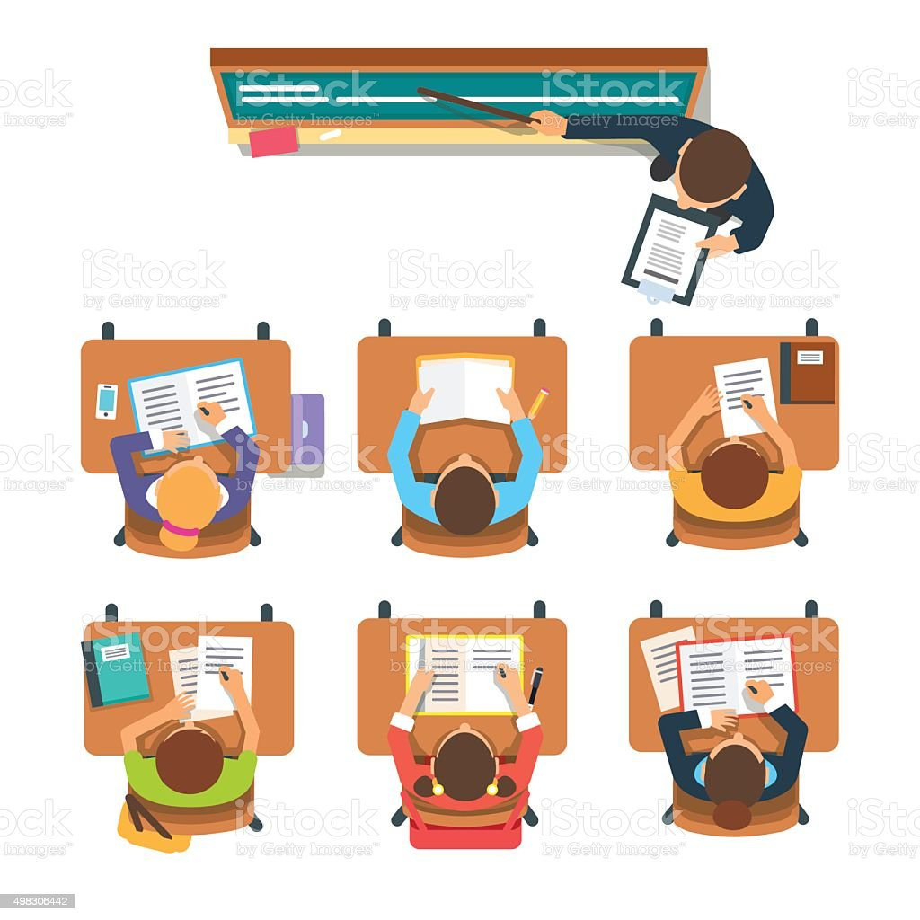 Teacher in front of the children at classroom vector art illustration