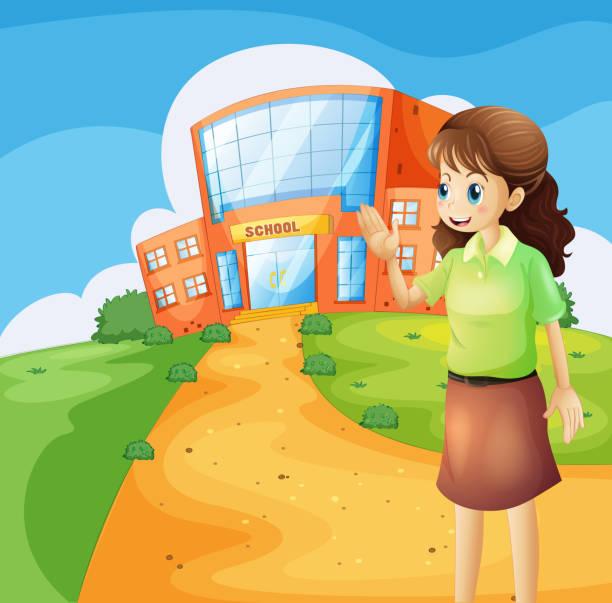 ilustrações de stock, clip art, desenhos animados e ícones de professor na frente do prédio da escola - teacher school solo
