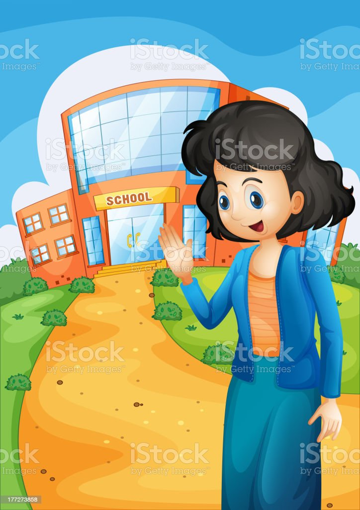 Teacher in front of the school royalty-free teacher in front of the school stock vector art & more images of adult