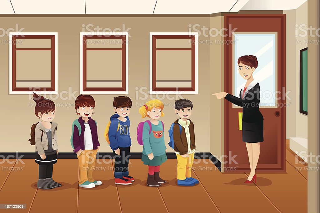 Teacher lining up the students vector art illustration