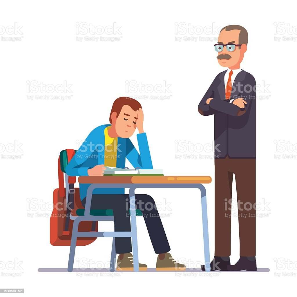 Teacher looking at a sleeping teen student vector art illustration