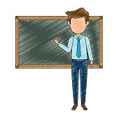teacher male with chalkboard avatar character vector illustration design