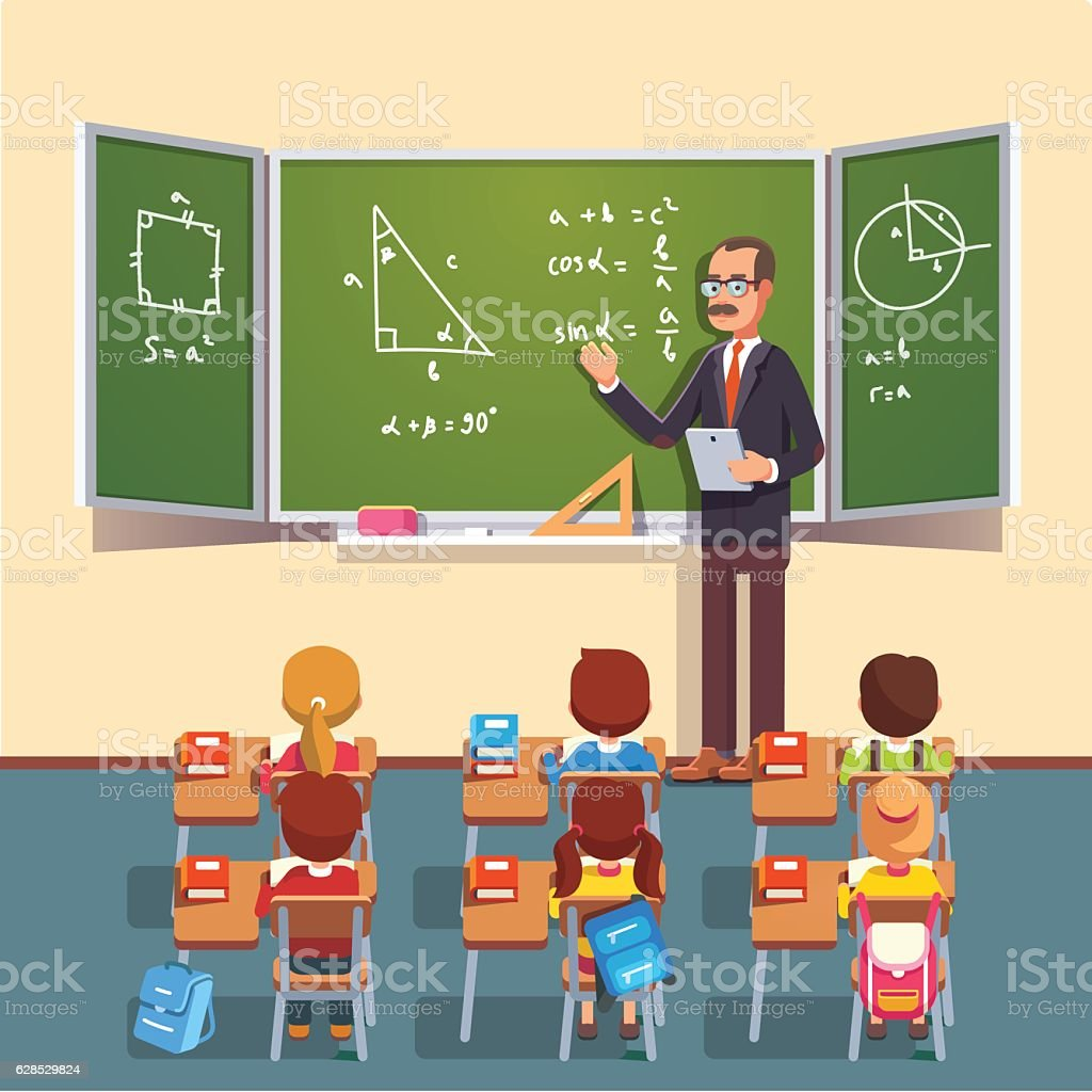 Teacher man giving a trigonometry lecture ベクターアートイラスト