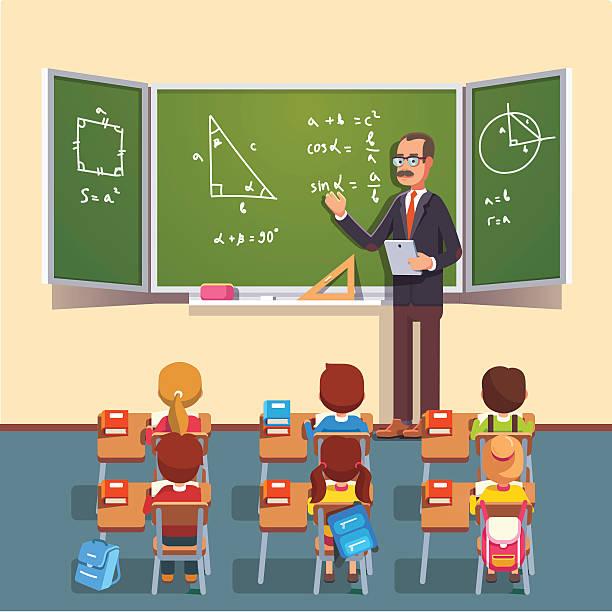 teacher man giving a trigonometry lecture - 数学の授業点のイラスト素材/クリップアート素材/マンガ素材/アイコン素材