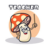 teacher mushroom cartoon character. vector illustration