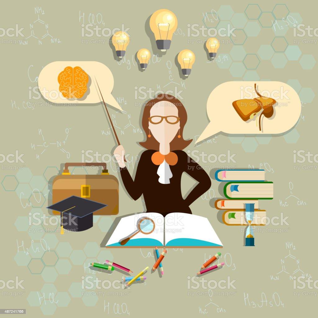 Profesor De Biología La Educación Y Ciencia Anatomía Illustracion ...