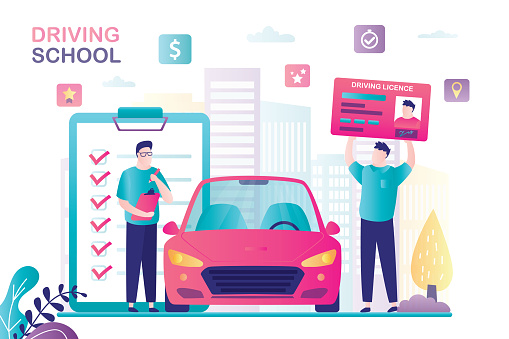 Teacher or instructor controls quality of training. Male student holds driver licence. Modern vehicle near. Driving school banner.