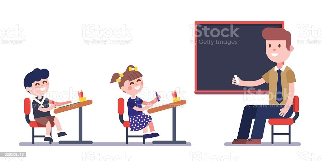 Teacher or tutor studying with group of kids vector art illustration