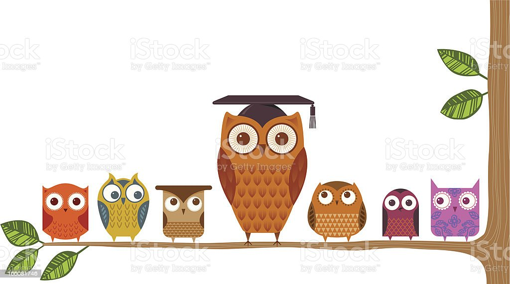 Teacher owl vector art illustration