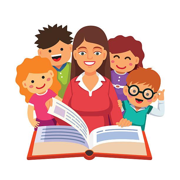 ilustrações, clipart, desenhos animados e ícones de livro de leitura do professor para jovens maiores pouco estudantes - professor de pré escola