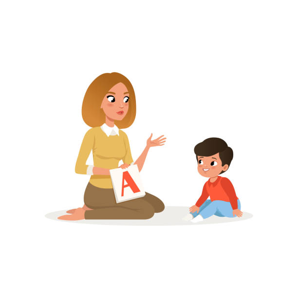 Teacher showing flash card with letter A to her little pupil. Young woman and preschool boy. Lesson in kindergarten. Flat vector design Teacher showing flash card with letter A to her little pupil. Cartoon character of young woman and preschool boy. Lesson in kindergarten or child development center. Colorful flat vector illustration. preschool teacher stock illustrations