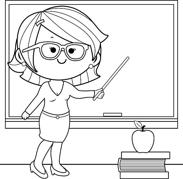 Teacher Teaching At Class Coloring Book Page Vector Art Illustration