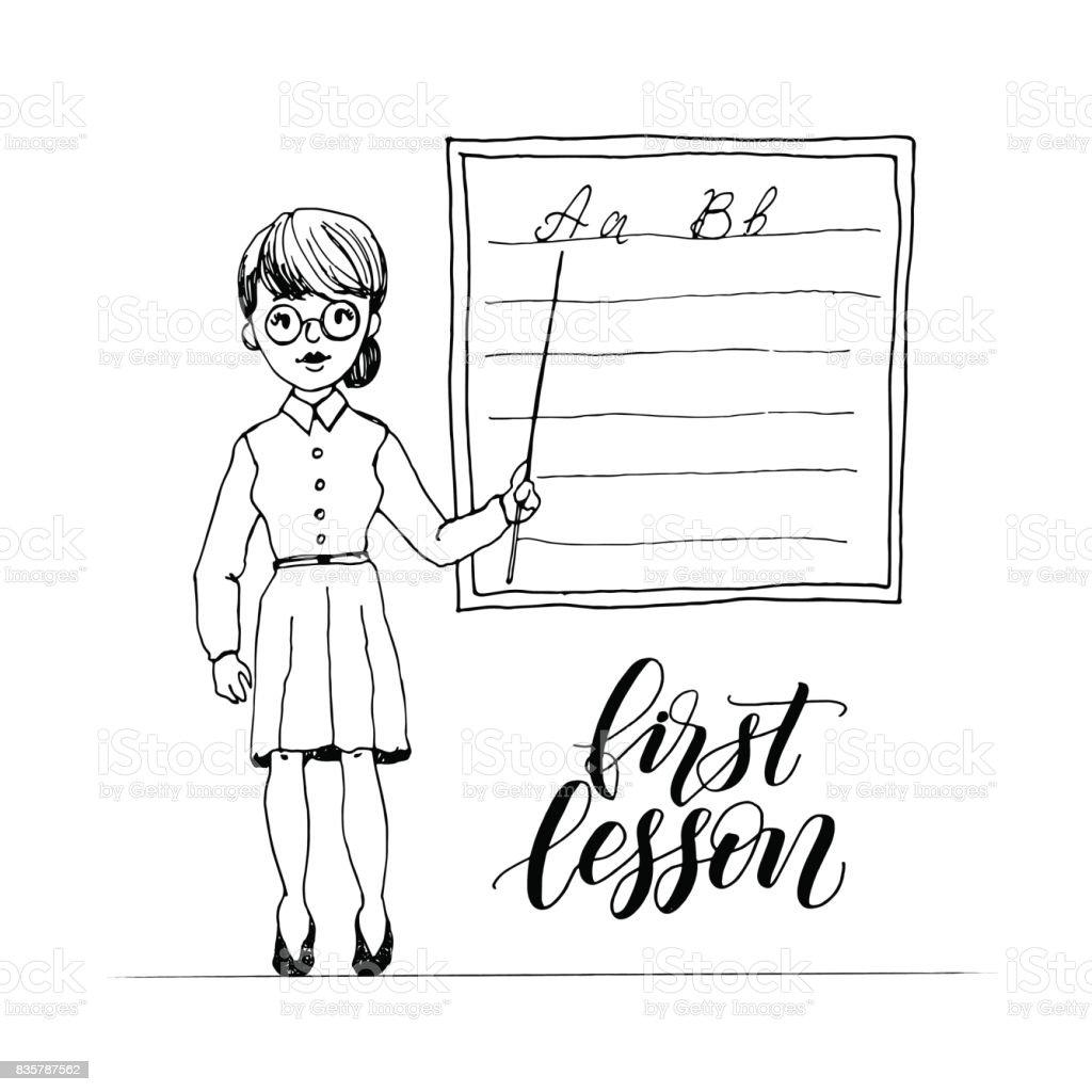 Lehrer Unterrichten An Klasse An Der Tafel Mit Einem Zeiger Erste ...