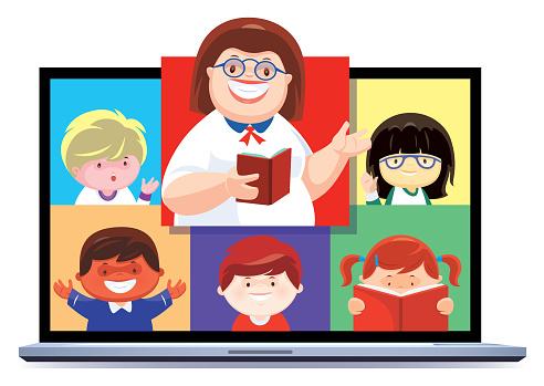 teacher teaching children via laptop
