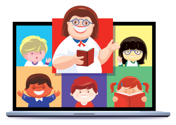 teacher teaching children via laptop - e-learning not icons stock illustrations