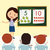Vector illustration of a cheerful teacher having lesson with school kids.