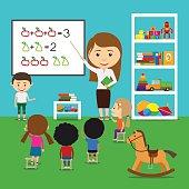 Teacher teaching kids