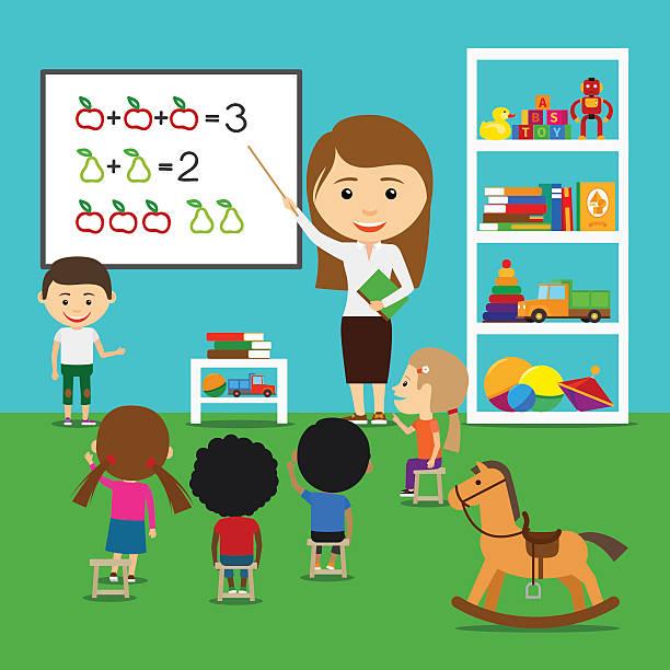 ilustrações, clipart, desenhos animados e ícones de professor, teaching kids - professor de pré escola