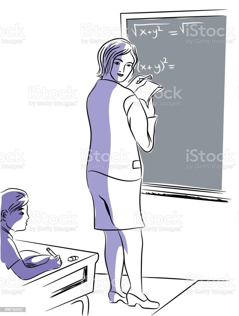 Öğretmen öğretim matematik. vektör sanat illüstrasyonu