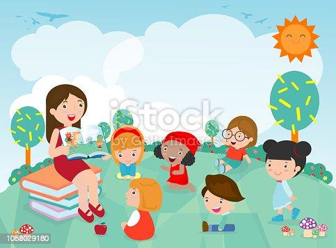 Teacher telling a story to nursery children in the garden, cute Kids Listening to Their teacher Tell a Story, teacher reading books for child in the kindergarten. Vector Illustration
