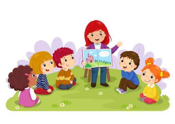 Teacher telling a story to nursery children in the garden Teacher telling a story to nursery children in the garden preschool teacher stock illustrations