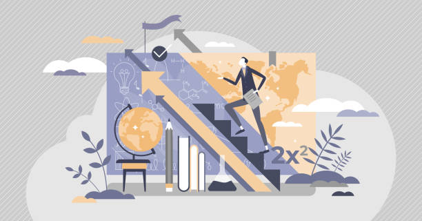 Teacher upskilling as male skill qualification progress tiny person concept vector art illustration