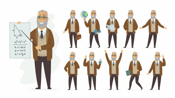 teacher - vector cartoon people character set - old man smiling silhouettes stock illustrations, clip art, cartoons, & icons