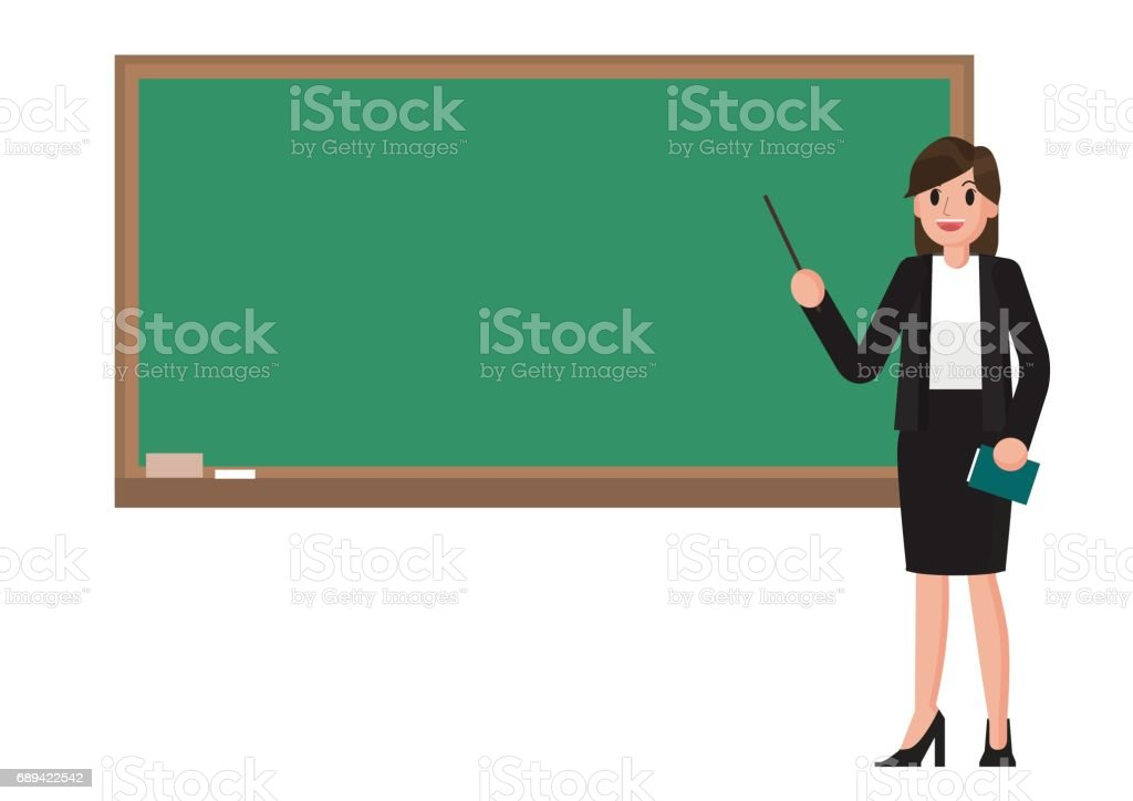 teacher with blackboard. vector art illustration