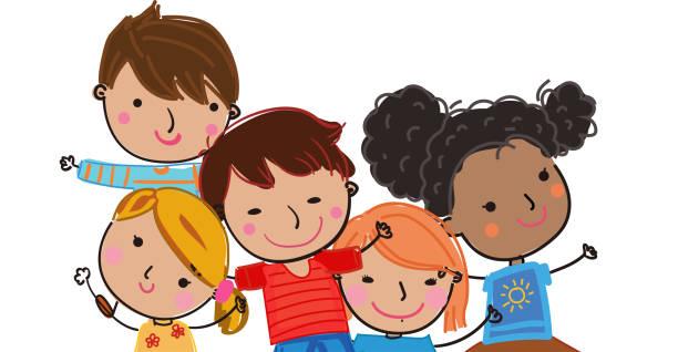 stockillustraties, clipart, cartoons en iconen met leraar met kinderen vector illustratie geïsoleerd - schooluniform