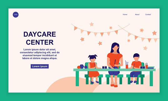 Teacher With Preschool Children In A Nursery Center. Education And Child Care Service Concept. Vector Flat Cartoon Illustration.
