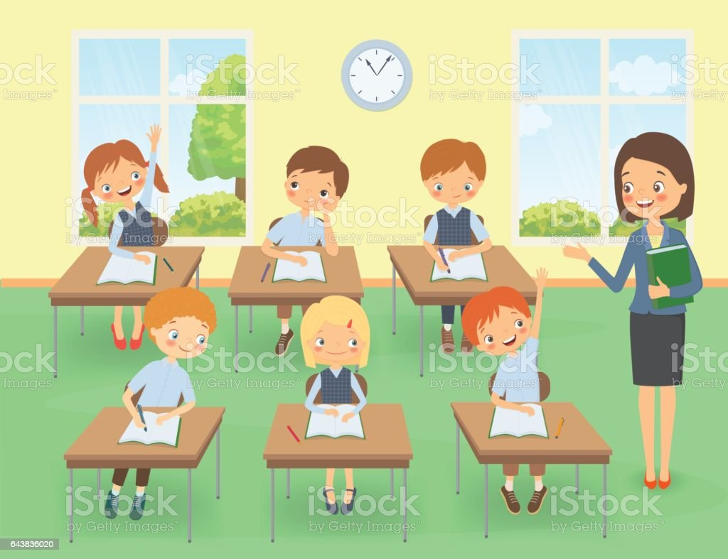 Teacher with pupils in a classroom at a lesson vector art illustration