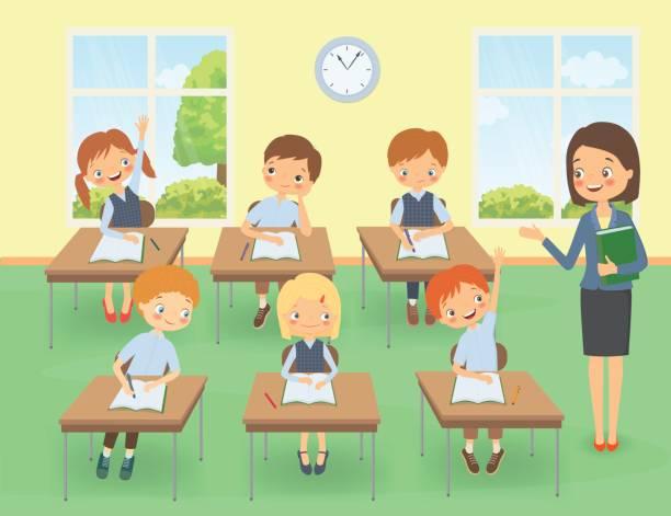 bildbanksillustrationer, clip art samt tecknat material och ikoner med lärare med elever i ett klass rum vid en lektion - klassrum