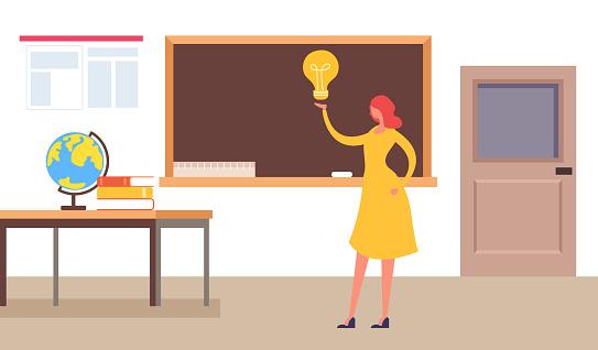 Teacher woman character standing near blackboard. Education concept. Vector flat cartoon graphic design isolated illustration