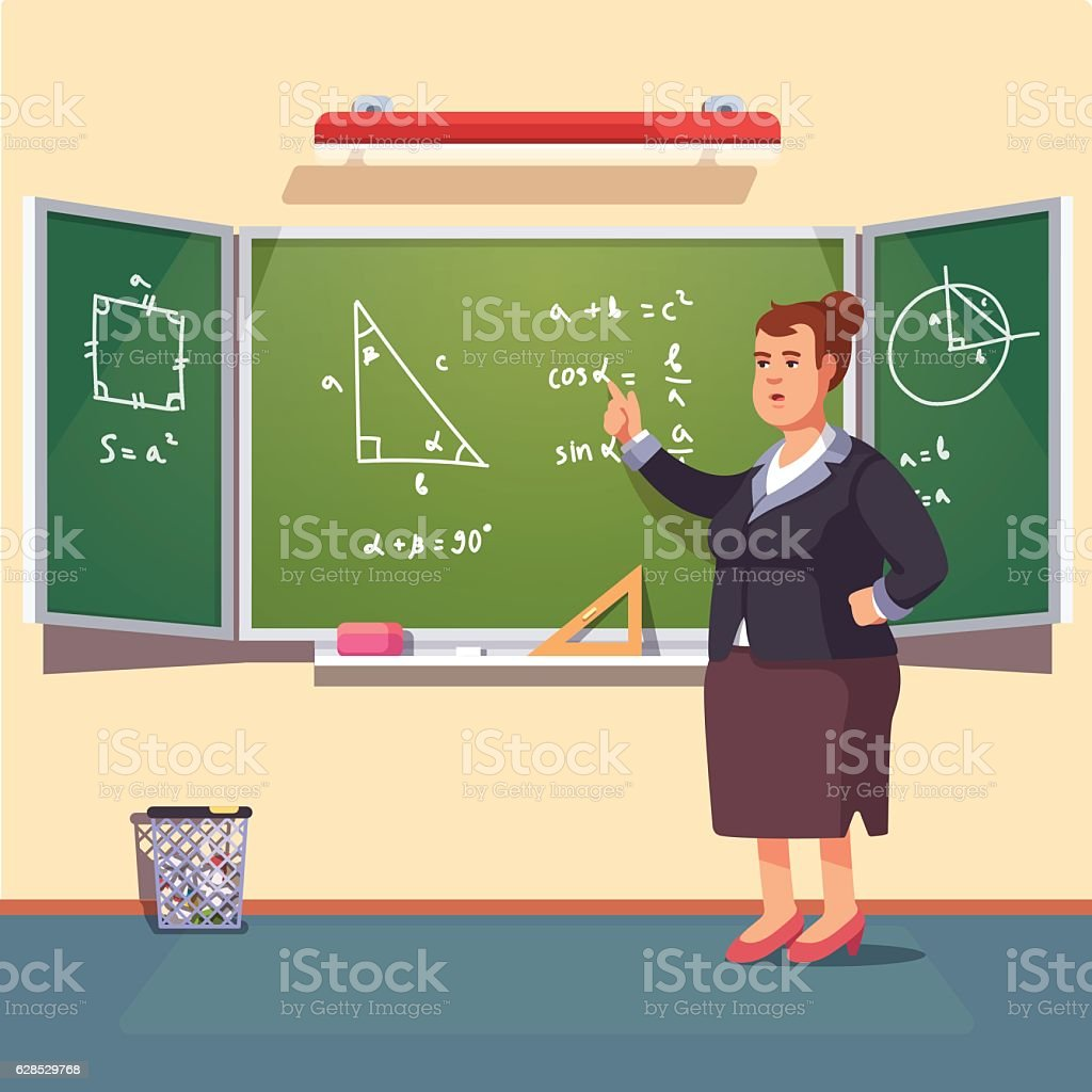 Teacher woman giving a trigonometry lecture ベクターアートイラスト