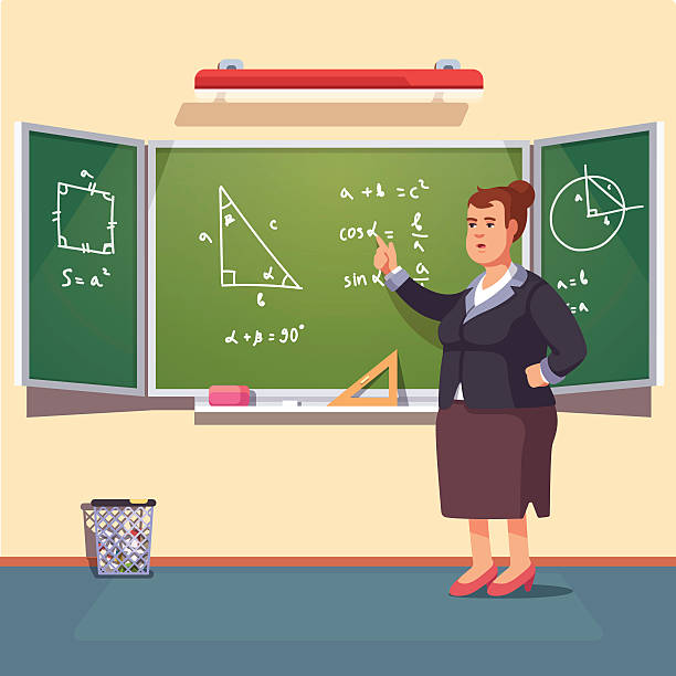 teacher woman giving a trigonometry lecture - 数学の授業点のイラスト素材/クリップアート素材/マンガ素材/アイコン素材