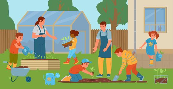 Teachers And Children Gardening In The Backyard